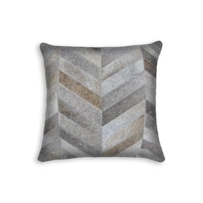 Torino Chevron Cowhide Gray Solid 18 in. x 18 in. Throw Pillow