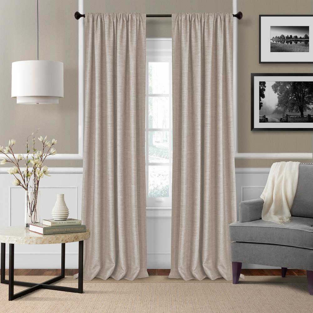 Elrene Pennington 52 in. W x 84 in. L Polyester Window Curtain Panel in Linen (Set of 2)