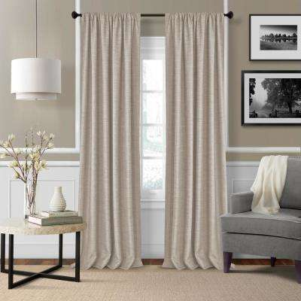 Elrene Pennington 52 in. W x 95 in. L Polyester Window Curtain Panel in Linen ( Set of 2)