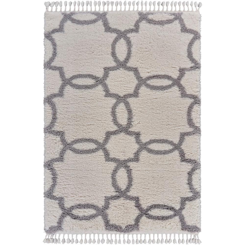 Outlander Cream/Light Gray 5 ft. 3 in. x 7 in. Trellis Fringe Shag Area Rug