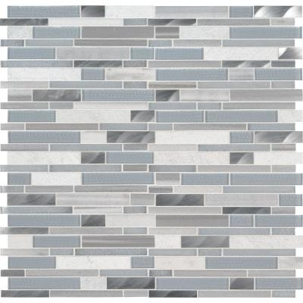 Harlow Interlocking 12 in. x 12 in. x 8mm Glass Stone Metal Mesh-Mounted Mosaic Tile (10 sq. ft./case)