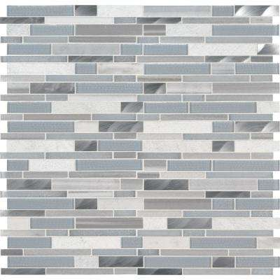 Harlow Interlocking 12 in. x 12 in. x 8mm Glass Stone Metal Mesh-Mounted Mosaic Tile (10 sq. ft./case)
