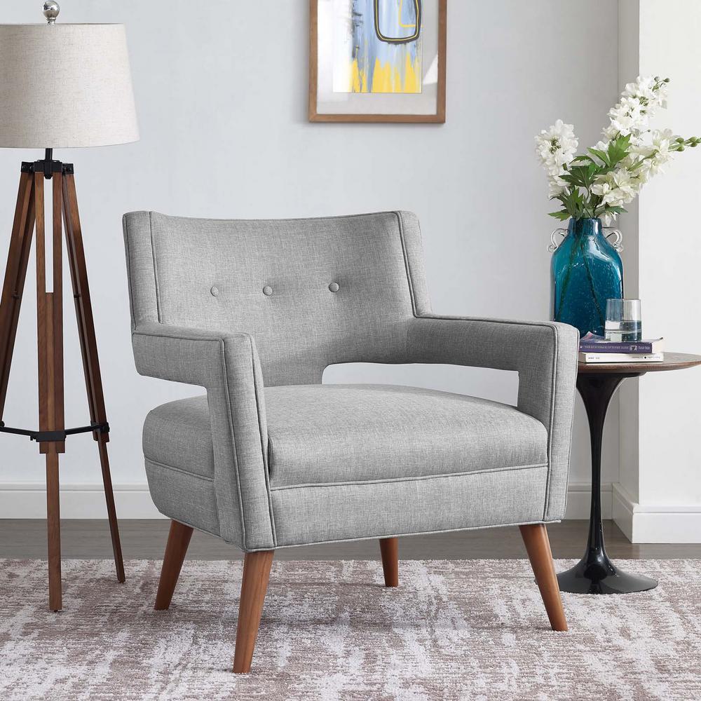 Sheer Light Gray Upholstered Fabric Armchair