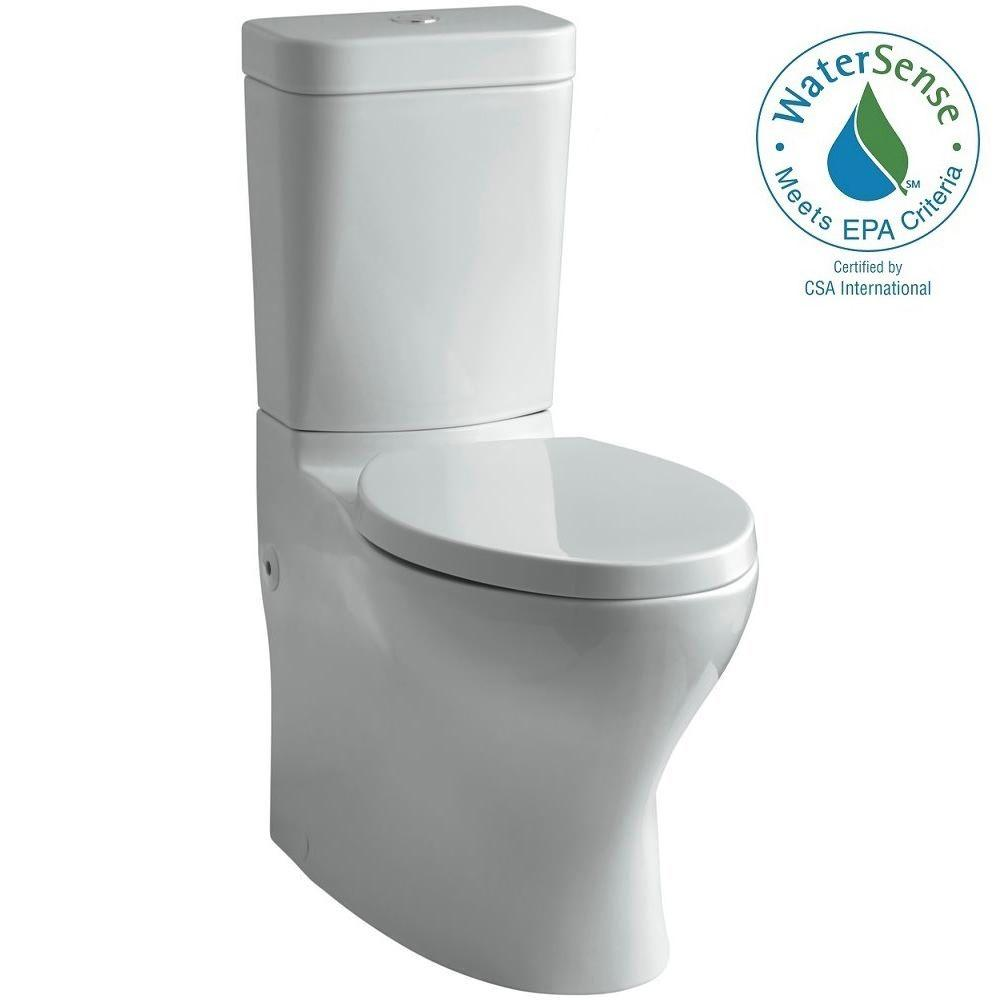 KOHLER Persuade Circ 2-piece 1.0 or 1.6 GPF Dual Flush Elongated Toilet in Ice Grey