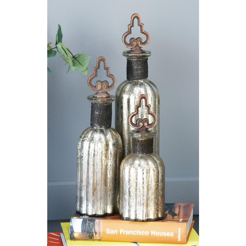 Round Fluted Metallic Decorative Glass Bottles with Metal Stoppers (Set of