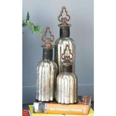 Round Fluted Metallic Decorative Glass Bottles with Metal Stoppers (Set of 3)