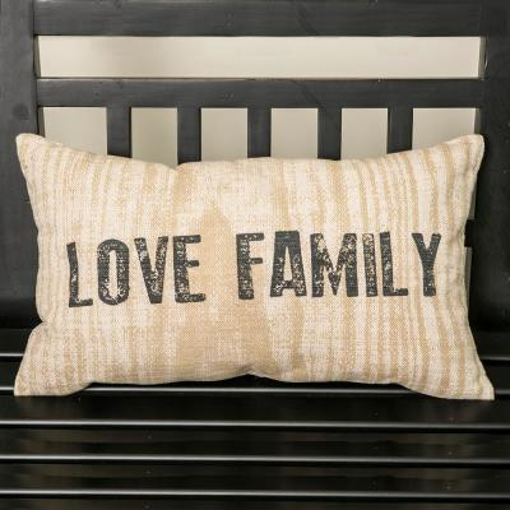Farmhouse 12 in. x 20 in. Tan Love Family Pillow Cover