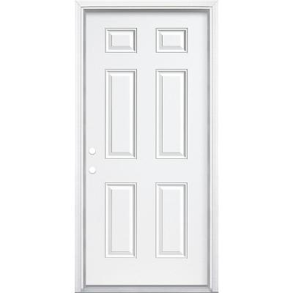 36 in. x 80 in. Premium 6-Panel Right-Hand Inswing Primed Steel Prehung Front Exterior Door with Brickmold