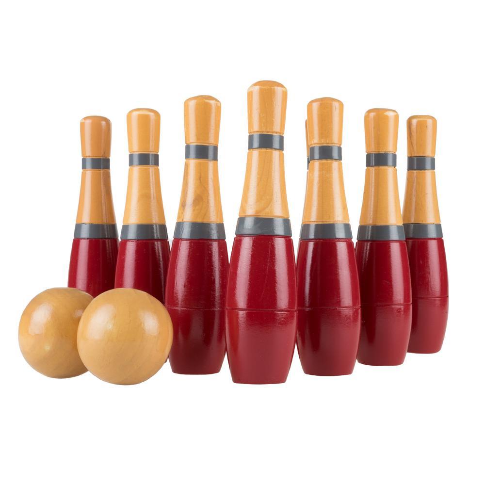 10 Pin Multi colour Skittles 2 Balls Bowling Set Outdoor Garden Lawn Party Game