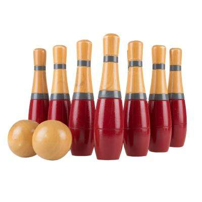 8 in. Wooden Red and Grey Bowling Lawn Game