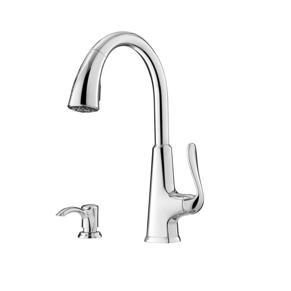 Pfister Pasadena Single-Handle Pull-Down Sprayer Kitchen Faucet with Soap  Dispenser in Polished Chrome