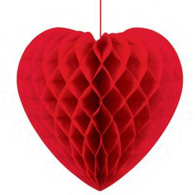 14 in. Valentine's Day Heart-Shaped Honeycomb Hanging Decoration (3-Pack)