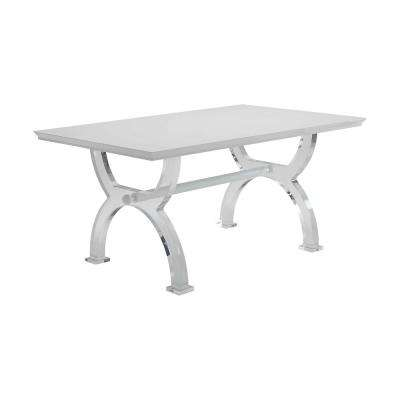 Martinus High Gloss White and Clear Acrylic Dining Table