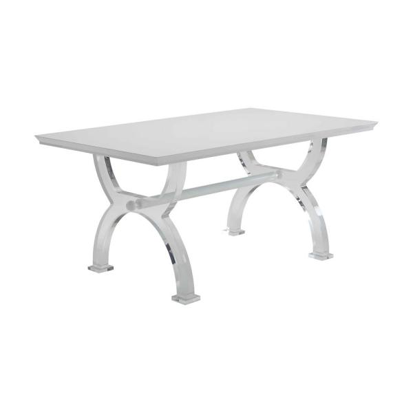Acme Furniture Martinus High Gloss White and Clear Acrylic Dining Table