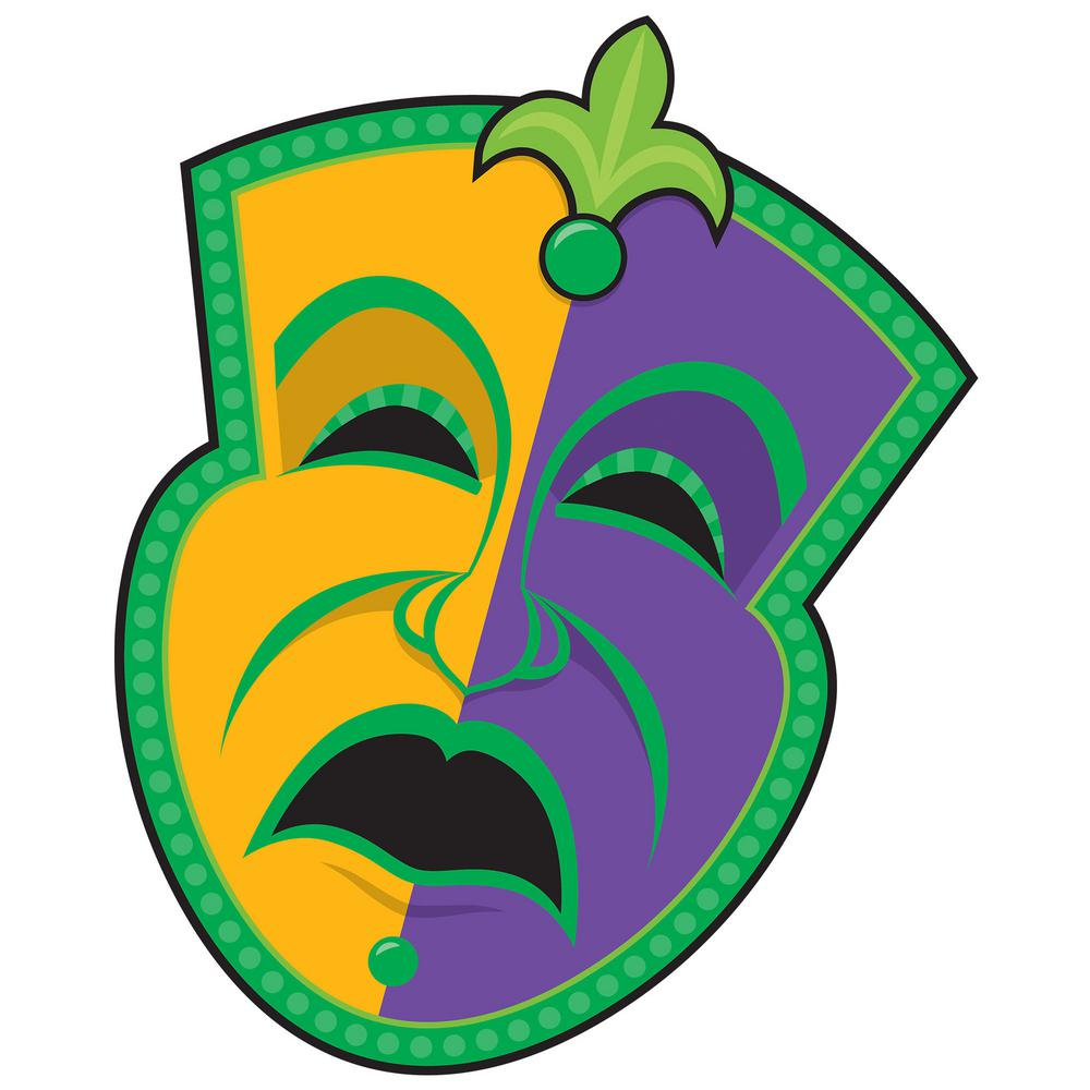 Amscan 1475 In Mardi Gras Paper Tragedy Mask Cutout 9 Pack