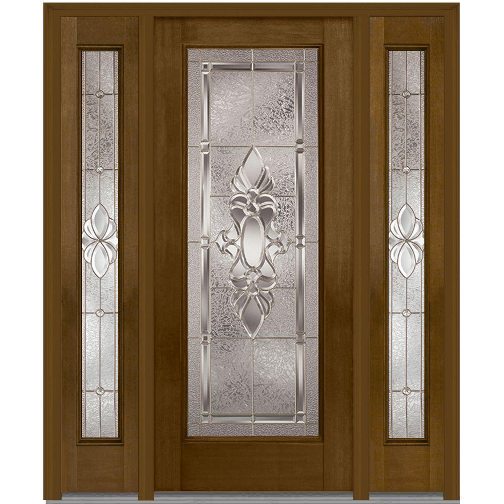 64 in. x 80 in. Heirloom Master Left-Hand Full Lite Decorative Fiberglass Mahogany Prehung Front Door with Sidelites