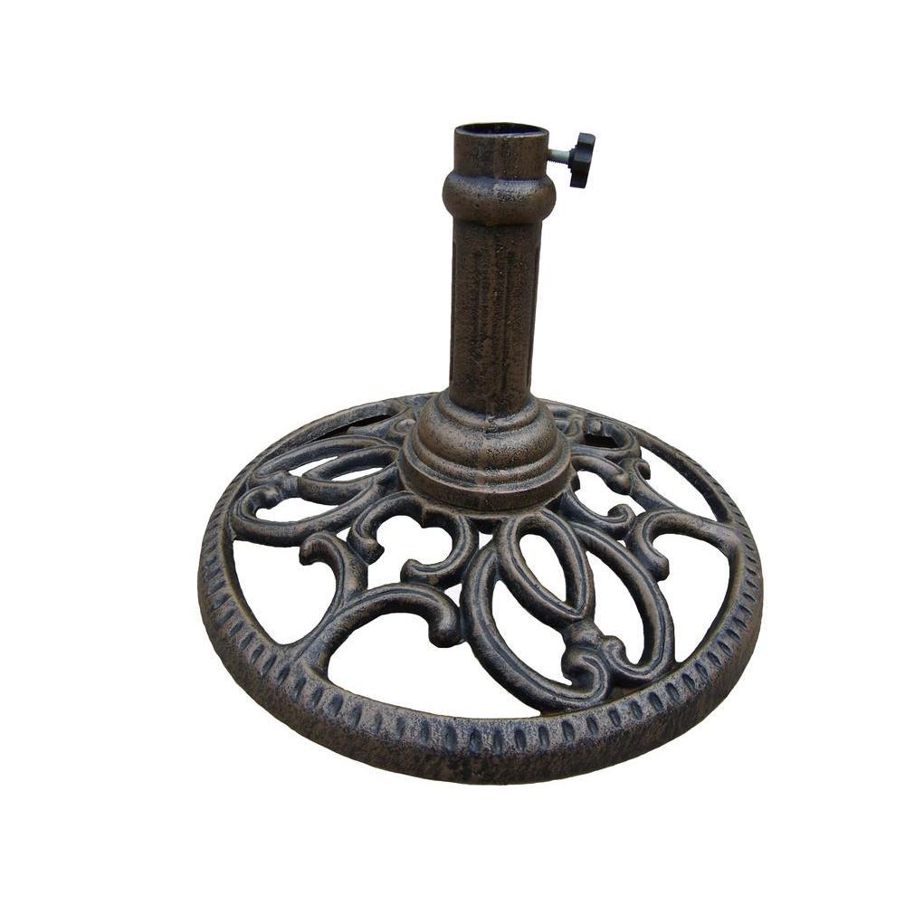 Round Patio Umbrella Stand in Antique Bronze