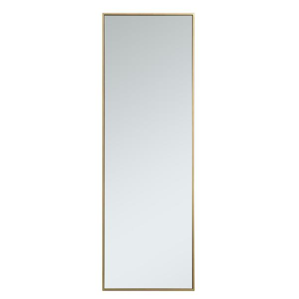 Large Rectangle Brass Modern Mirror (60 in. H x 20 in. W)