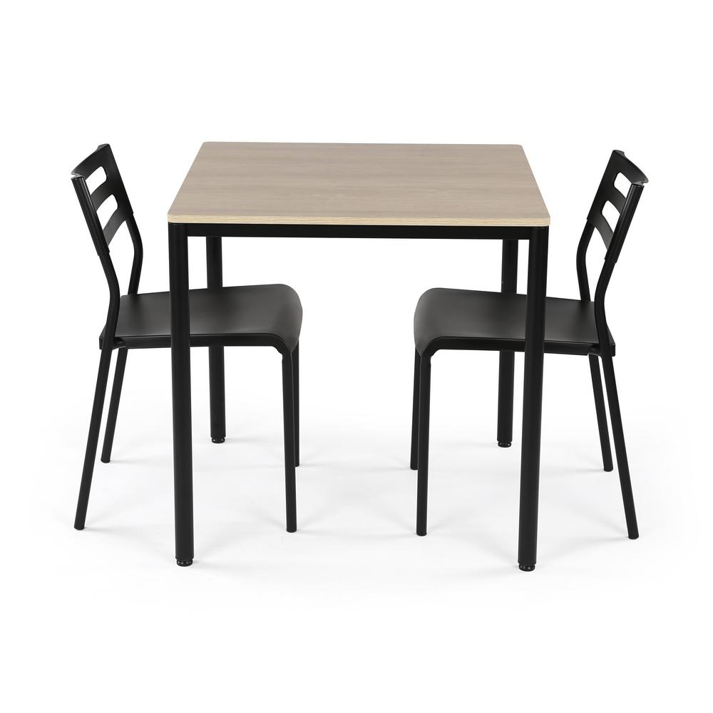 3-Piece Black and Grey Dining Set