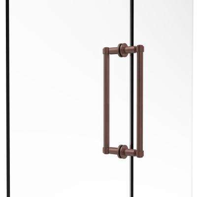 Contemporary 12 in. Back-to-Back Shower Door Pull in Antique Copper