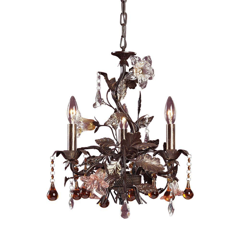 Cristallo Fiore 3-Light Ceiling Deep Rust Chandelier