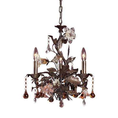 Cristallo Fiore 3-Light Ceiling Deep Rust Chandelier