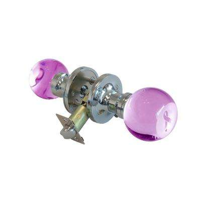 Pink Ribbon Crystal Chrome Privacy Door Knob with LED Mixing Lighting Touch Activated