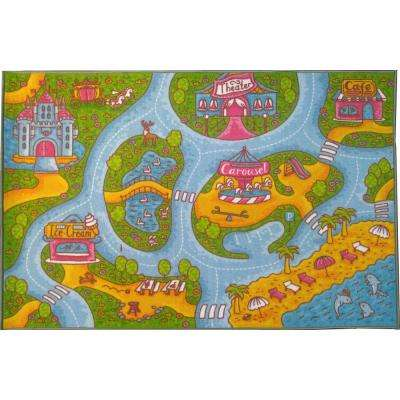 Multi-Color Kids and Children Bedroom and Playroom Girls Road Map Educational Learning 5 ft. x 7 ft. Area Rug