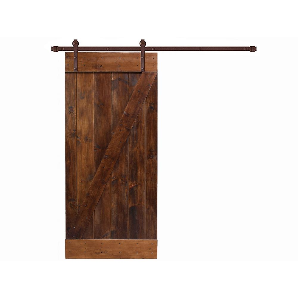 coffee brown knotty pine finished wood barn door with