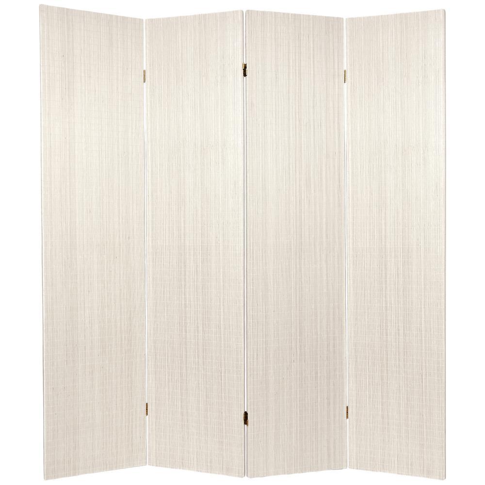 6 ft. White Framless Bamboo 4-Panel Room Divider