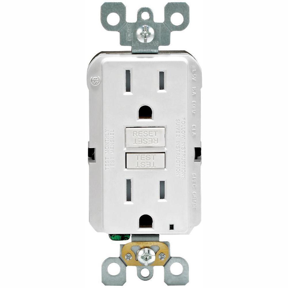 15 Amp 125-Volt Duplex SmarTest Self-Test SmartlockPro Tamper Resistant GFCI Outlet, White (4-Pack)