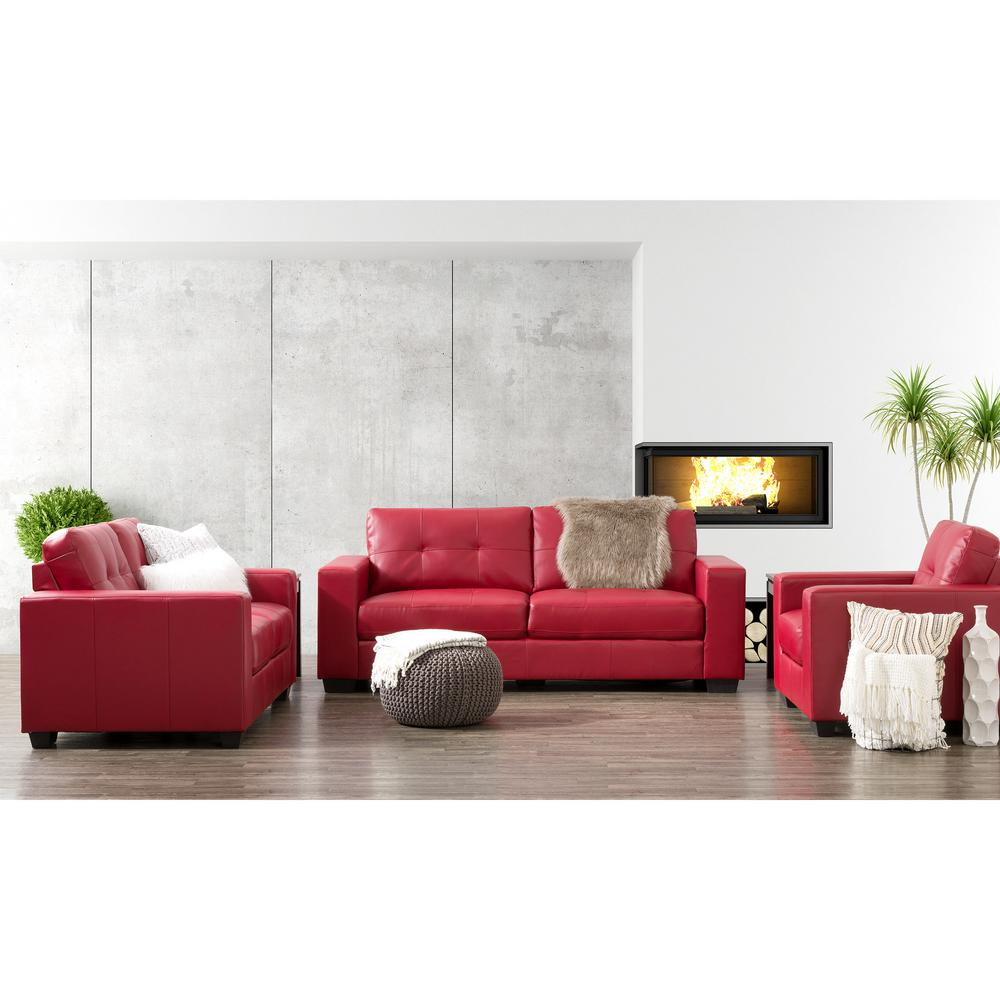 CorLiving Club 3-Piece Tufted Red Bonded Leather Sofa Set