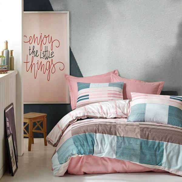 Sussexhome Mint Meets Pink Duvet Cover Set Pink Queen Size Duvet Cover 1 Duvet Cover 1 Fitted Sheet And 2 Pillowcases Mm Dcs Pin Qs The Home Depot
