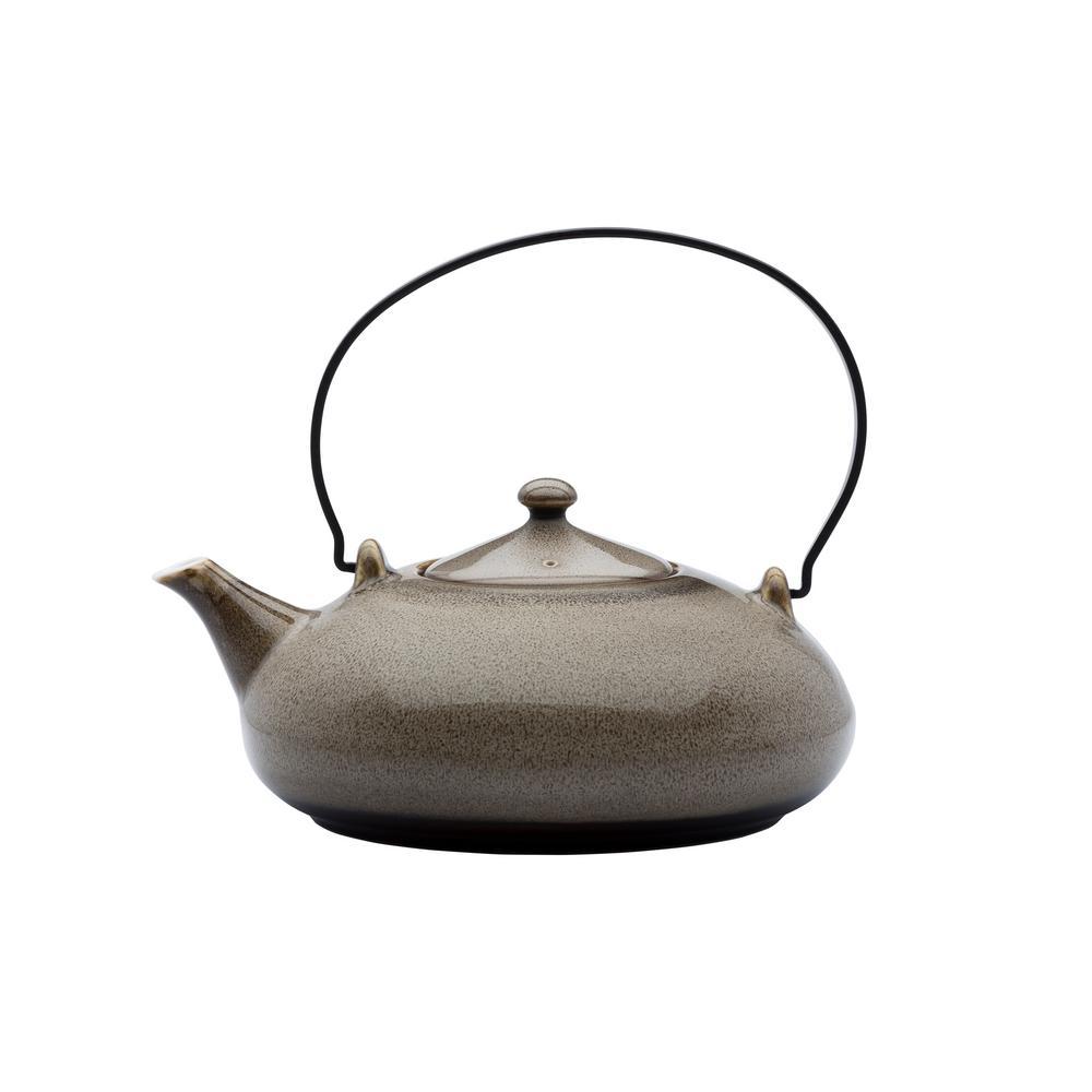 2-Cup Chestnut Porcelain Tea Pots with Metal Handles 14 oz. (Set of 12)