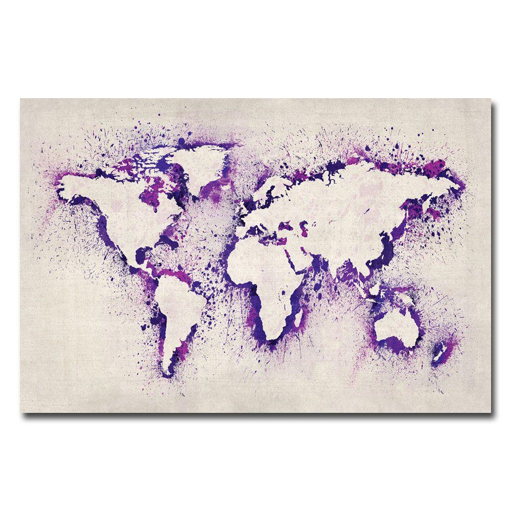Trademark fine art 16 in x 24 in paint outline world map ii canvas trademark fine art 16 in x 24 in paint outline world map ii canvas gumiabroncs Gallery