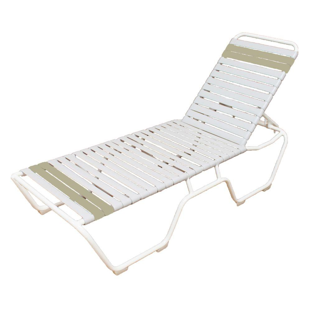 Marco island white commercial grade aluminum vinyl strap for Chaise longue jardin brico depot