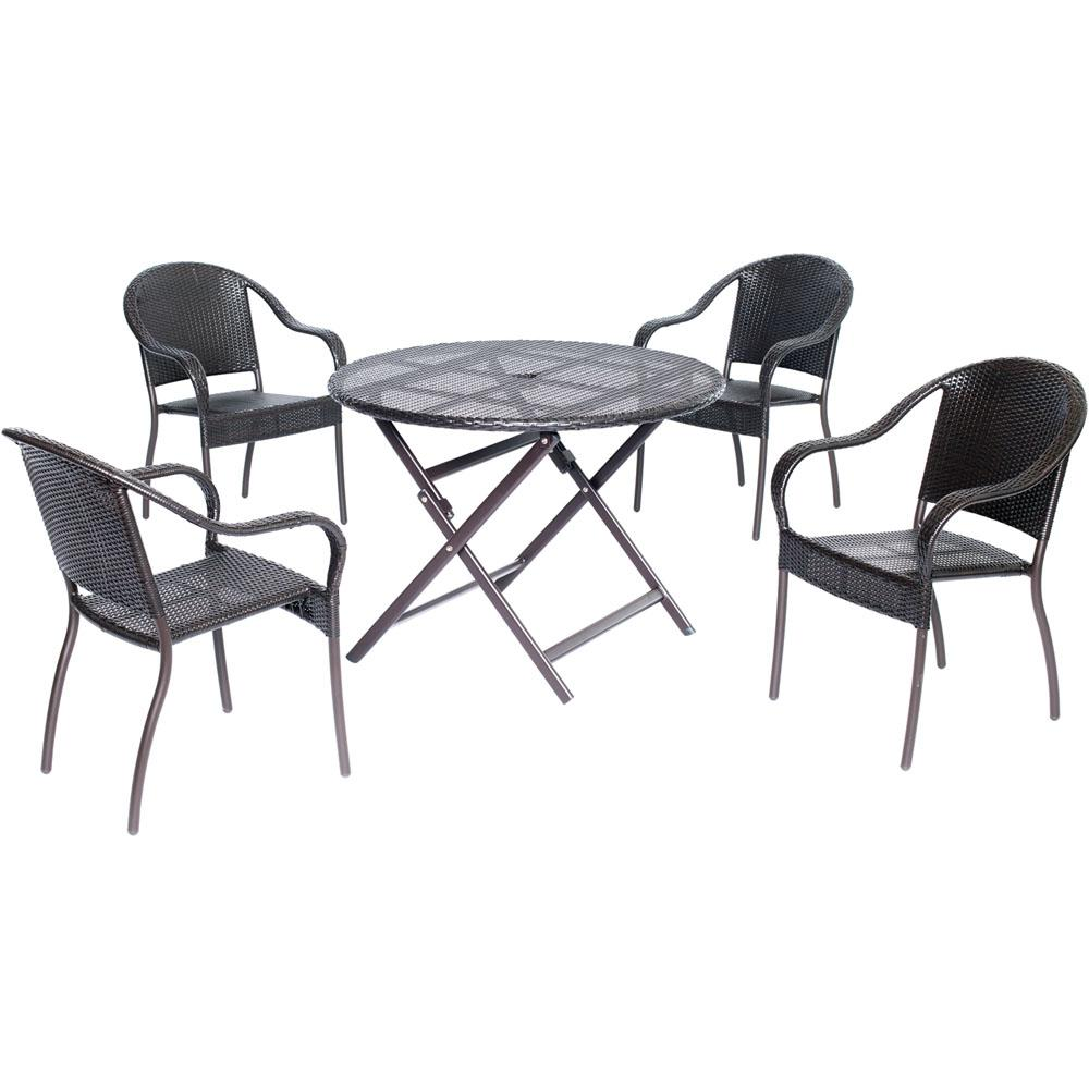 Cambridge Aluminum Outdoor Dining Set Chairs Collapsible Round Table Belize