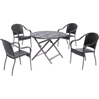 Belize 5-Piece Aluminum Outdoor Dining Set with 4-Chairs and Collapsible Round Table
