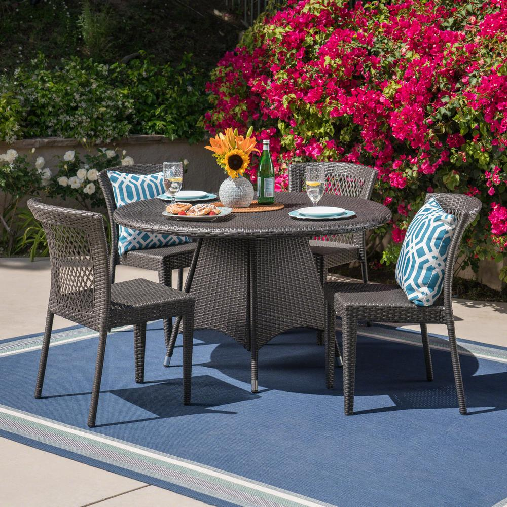 Noble House Armstrong Gray 5-Piece Wicker Outdoor Dining