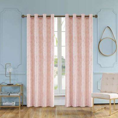 Skye Semi-Opaque Room Darkening Polyester Curtain in Blush - 84 in. L x 54 in. W