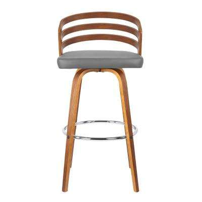 Jayden 26 in. Grey Faux Leather with Walnut Veneer Mid-Century Swivel Counter Height Barstool