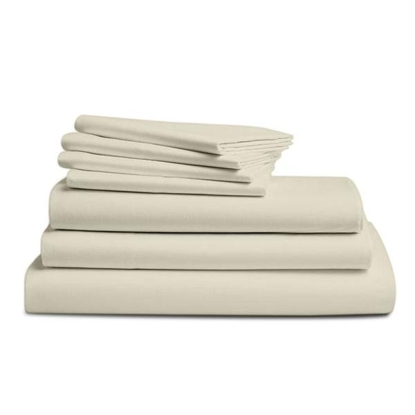 A1 Home Collections Wrinkle Resistant 7-Piece Cream 300TC Organic Cotton Queen