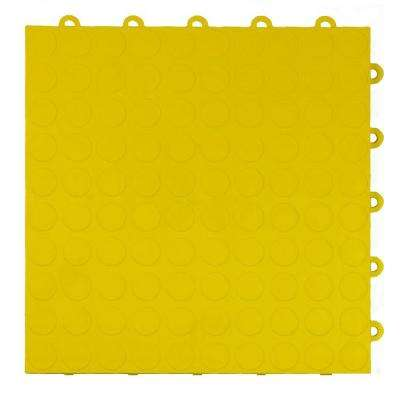 Coin Top 1 ft. x 1 ft. x 5/8 in. Yellow Polypropylene Interlocking Garage Floor Tile (Case of 24)