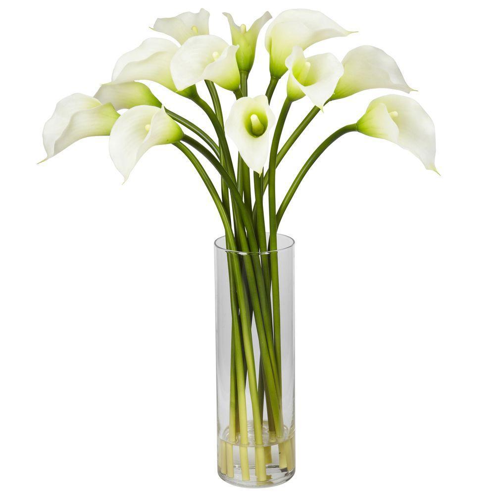 Nearly Natural 20 in. H Cream Mini Calla Lily Silk Flower Arrangement Nearly Natural 20 in. H Cream Mini Calla Lily Silk Flower Arrangement