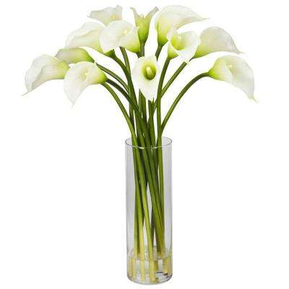 20 in. H Cream Mini Calla Lily Silk Flower Arrangement