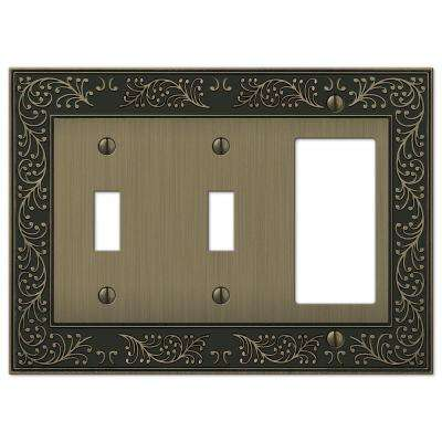 English Garden 2 Toggle 1 Decora Combination Wall Plate - Brushed Brass