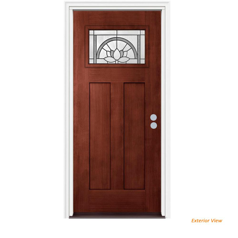 Jeld Wen 36 In X 80 In Craftsman Ardsley Black Cherry Left Hand Stained Fiberglass Prehung Front Door W Brickmould Thdqc232700080 The Home Depot