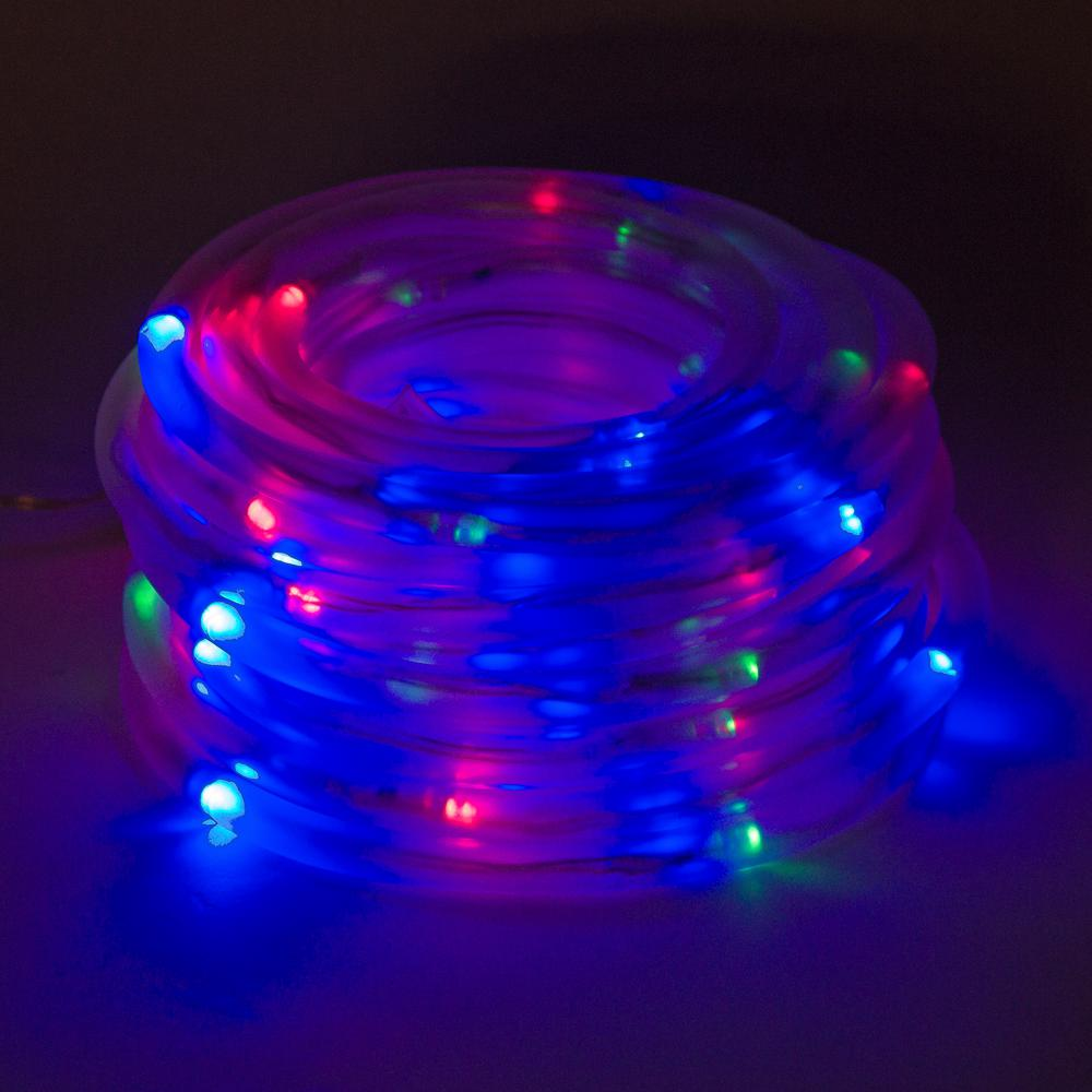 new arrival 865ff c5623 GreenLighting 100 Light 32 ft. Solar Powered Integrated LED Red/Green/Blue  Christmas Rope Lights