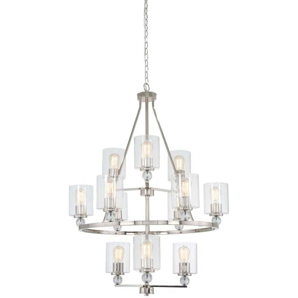 Studio 5 12-Light Polished Nickel Chandelier with Clear Glass Shade