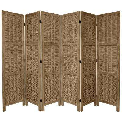 6 ft. Burnt Grey Matchstick 6-Panel Room Divider